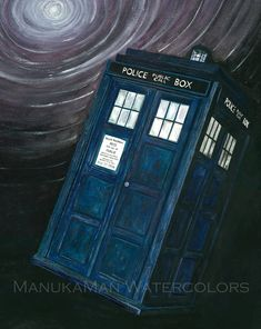 DR WHO Tardis in Vortex. watercolor by Damon Crook by Manukaman, $20.00