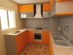 Small kitchen remodeling Ideas with orange colour