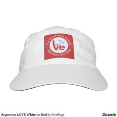 Argentine LOVE White on Red Headsweats Hat