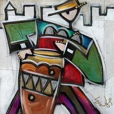 City Jazz XII 4  by Eric Waugh, mixed media, 16 x 16