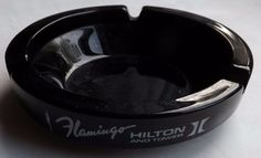 Flamingo Hilton And Tower Hotel Casino Las Vegas Round Black Glass Ashtray