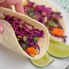 Corn Tacos with Roasted Winter Vegetables & Red Cabbage Slaw