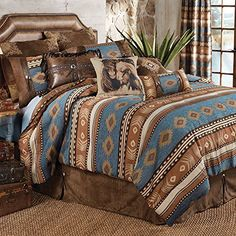 Save - on all Western Bedding and Comforter Sets at Lone Star Western Decor. Your source for discount pricing on cowboy bed sets and rustic comforters. Best Bedding Sets, Queen Bedding Sets, Luxury Bedding Sets, Western Comforter Sets, Brown Bed Linen, Neutral Bed Linen, Southwestern Bedding, Southwest Rugs, Southwest Decor