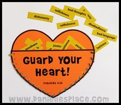 "I heart prayer with different prayer topics as the cards that go in? Guard My Heart Craft Bible Craft for Sunday School Lesson for ""Jesus Protects Me"" on www. Bible Story Crafts, Bible School Crafts, Bible Crafts For Kids, Bible Study For Kids, Bible Lessons For Kids, Kids Bible, Kids Church Lessons, Jesus Crafts, Bible Activities For Kids"