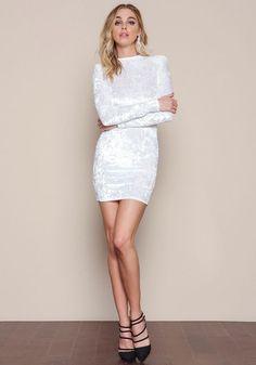 White Velvet Crush Mini Dress - LoveCulture.com