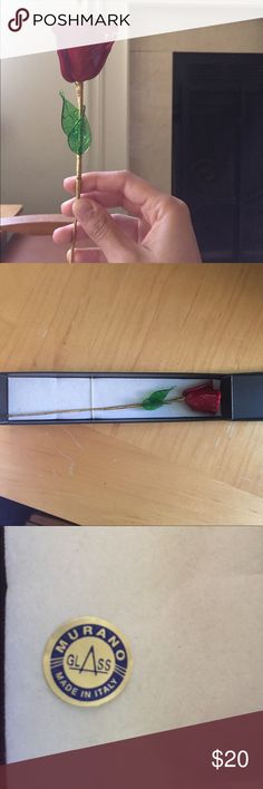 Glass rose Authentic Murano glass from Italy. Beautiful glass rose. Murano Other