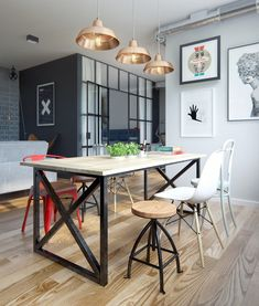 Vintage Industrial Decor Amazing modern industrial apartment by Int 2 Architects // Increíble departamento vintage industrial moderno // Casa Haus Dining Room Design, Room Design, Interior Design, House Interior, Apartment Decor, Home, Interior, Dining Room Industrial, Home Decor