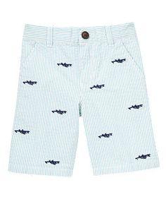 Airplane Embroidered Stripe Seersucker Short