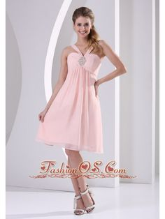 Baby Pink Straps V-neck Empire Knee-length Short Bridesmaid Dress With Beading Chiffon- $97.45  http://www.fashionos.com  http://www.facebook.com/quinceaneradress.fashionos.us  Are you longing of a special and unique dress for your prom? Here is a gorgeous one for the big day. This style features a crystaled halter top detail.Chiffon continues the glamour on the already flowy short skirt. Zipper up closure completes the chic look.
