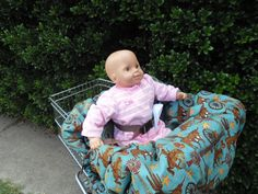 Western on teal  baby shopping cart cover/ by littlestitches59, $40.00