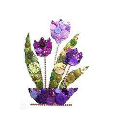PURPLE TULIPS #67, 8x10 Button Artwork, Button Art, flower art, Swarovski, rhinestones, elegant, valentine art, diy, ooak, made in USA