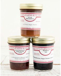 BETH'S FARM KITCHEN PRESERVES. Beth's Farm Kitchen preserves are self-defined as pie in a jar! The Beth of Beth's jams, preserves & chutneys first set up shop in Hudson Valley in 1981 and buys only local and regional fruit (except for citrus fruit, because it won't grow upstate). Your choice of Strawberry Rhubarb, Pear, or Blackberry. $5.45