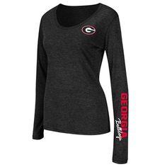 Georgia Bulldogs Ladies Athena Scoop Neck Long Sleeve T-Shirt - Charcoal  #Ultimate Tailgate #Fanatics