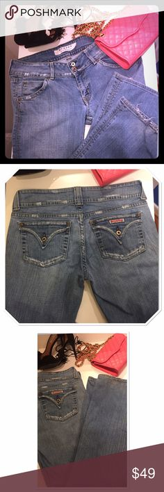 "Hudson jeans distressed signature pocket bootcut Signature quality Hudson jeans. Light blue color, boot cut. Stylish flap design and distressed on the back pockets and some on the front. Size 31. Inseam: 33"" waist 34"" Jeans fit like a glove and shape your booty beautifully. Just light signs of wear on the edge . Made in USA Hudson Jeans Jeans Boot Cut"