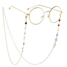 Eyeglass Chains sunglasses Neck strap Cord Beaded reading glasses chain Holder Lanyards Eyewear Retainer for women (GOLD) Round Lens Sunglasses, Sunglasses Women, Sunglasses Holder, Sunglasses Accessories, Mode Lolita, Fashion Eye Glasses, Accesorios Casual, Mode Style, Eyeglasses
