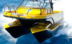 featuring a unique hydraulic suspension system, the 'nauti-craft' multihulled vessel reacts rapidly to wave inputs and provides increased levels of ride comfort, control and stability.