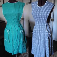 2 X TRUE VINTAGE 1950s COTTON APRONS PINNIES GREEN AND PRINT RIC RAC W 28