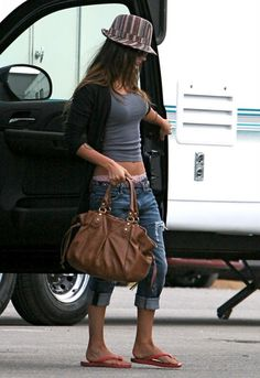 Megan Fox wearing Ray-Ban 3026 Aviator Havaianas Top Flip-Flops in Red Current/Elliott The Slouched Cropped Jeans in Loved Destroy with Paint Botkier James Tote in Cocoa