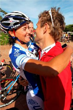 Cherise Taylor and Burry Stander celebrate after Cherise completed the race in 2011