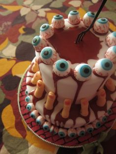 eye-ball and servered finger cake...yum!