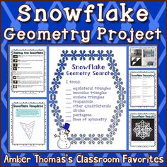 Making paper snowflakes isn't just a fun geometry activity. It also gives students a tool to practice identifying geometric concepts! Currently $1.50