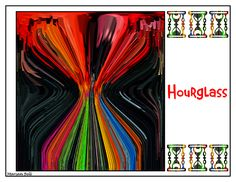 """Hourglass Poster"" depicts an abstract image created from a Crewe of Columbus parade float during Carnival 2014 in Mobile, Alabama. The original image is of maskers on the ""Dive the Great Barrier Reef"" float. Find this image and more for sale at  marian-bell.pixels.com  and  marian-bell.fineartdamerica.com  More items for sale at zazzle.com/marianbellbellaspix* etsy.com/shop/MarianBellBellasPix  and  artistrising.com/galleries/marianbell"