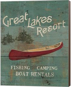 Metaverse Lodge Signs Iii by James Wiens Canvas Art Canvas Artwork, Framed Artwork, Wall Art, Lake Resort, Lodge Decor, Stretched Canvas Prints, Lovers Art, Giclee Print, Boat