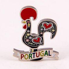 Metal Fridge Magnet: Portugal. Rooster of Barcelos or Galo de Barcelos (Nickel Plating and Enamel)