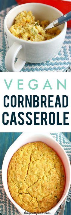 vegan cornbread casserole Vegan Cornbread, Cornbread Casserole, Vegan Casserole, Vegan Foods, Vegan Vegetarian, Vegetarian Recipes, Vegan Meals, Whole Food Recipes, Cooking Recipes