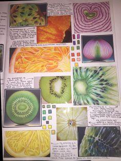 Macro and micro fruit studies natural forms gcse, natural form art, gcse art sketchbook A Level Art Sketchbook, Sketchbook Layout, Textiles Sketchbook, Arte Sketchbook, Sketchbook Inspiration, Sketchbook Ideas, Fashion Sketchbook, Layout Inspiration, Journal Inspiration