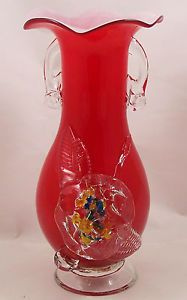Red-Cased-Art-Glass-Vase-End-of-Day-Applied-Glass-Flower-and-Handles-9-1-4in