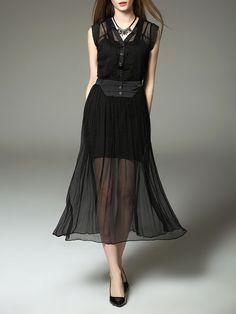 Pleated Silk Two Piece Midi Dress