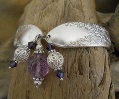 Items similar to Spoon Bracelet - Rose and Leaf 1937 Silver Plated Spoon Bracelet with Purple Fluorite Flower on Etsy Silver Spoon Jewelry, Silverware Jewelry, Silver Spoons, Silver Plate, Jewlery, Spoon Bracelet, Bracelets, Vintage Jewelry, Unique Jewelry