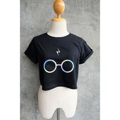 Harry Potter Shirt Lightning Bolt Glasses Harry Potter Holographic... ❤ liked on Polyvore featuring tops, crop top, hologram shirt, hologram top, cut-out crop tops and hologram crop top