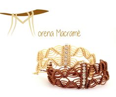 bracciali invernali a macrame con strass, morenamacrame, modernmacrame, beige, brown