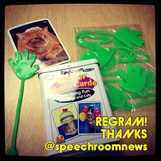 """Thanks @speechroomnews for reminding her of how she uses dollar store """"Sticky Hands"""" to make artic, photo cards or any task cards fun and full of giggles!    - Like our instagram posts?  Please follow us there at instagram.com/pediastaff"""