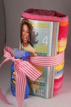 Small summer gift: towel, mag, sunblock Simple cheap idea!