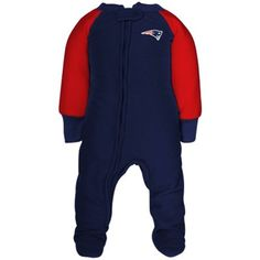 Gerber New England Patriots Toddler Navy Blue-Red Fleece Footed Sleeper