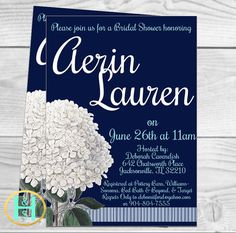Preppy, Classic Hydrangea Bridal Shower Invitation [custom, floral, navy, aqua, pink, DIY, option for seller to print]