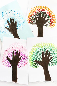 Arty Crafty Kids Art Four Season Handprint Tree A fun seasonal art project for kids. Create Autumn, Winter, Spring and Summer Handprint Trees - a great way for preschoolers to observe seasonal change! Kids Painting Projects, Summer Art Projects, Painting For Kids, Art For Kids, Kids Crafts, Kindergarten Art Projects, Fall Arts And Crafts, Arts And Crafts Projects, Handprint Art
