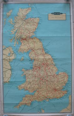 A full system map of the British Railways passenger network, believed to be from… Railway Posters, Travel Posters, System Map, Train Map, Disused Stations, Travel Uk, British Rail, Technical Drawing, Great Britain
