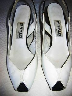 PANCALDI WHITE WITH BLACK PATTENED LEATHER DETAIL SLING BACK SHOES!