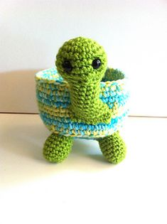 My year old son has loved turtles for years. I made him this years ago and now I have finally written out the pattern for you to make. This will be the perfect gift to crochet for the person whom loves turtles in your life. This is the perfect little bowl for all your little items.
