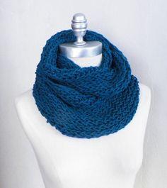 Teal Blue Scarf Knit Infinity Scarf Loop Scarf by jamiesierraknits, $25.00