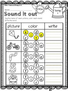 Sound it out- long vowel spelling. Spring Math and Literacy No Prep - Kindergarten. An excellent pack with a lot of vowel, spelling, vocabulary, word work and other literacy activities Cvc Words, Sight Words, Phonics Activities, Math Literacy, Shape Activities, Short A Activities, Spring Activities, Early Literacy, Literacy Centers