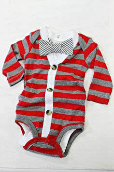 Striped Cardigan Onesie – Red/Grey — Lottie Da Baby