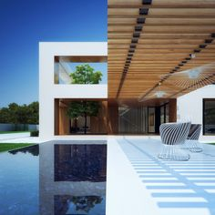 Holes House by Michal Nowak / casa / residence / pergolado / pérgola / espelho d'água / terraço