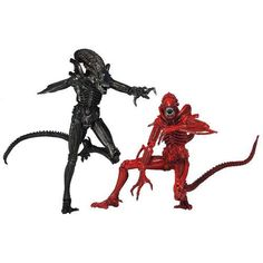 Aliens Genocide Xenomorph Warriors Action Figure 2-Pack - Based on the classic Dark Horse Comic series Aliens: Genocide from the early 1990s, pitting 2 different classes of Xenomorph Warriors against one another, this Aliens Genocide Xenomorph Warriors 9-Inch Action Figure 2-Pack includes the more common or traditional black-colored Xenomorph as it clashes with the unique crimson-red-colored Xenomorph in an�Aliens�civil war. Both Warrior figures include 30 points of articulation and stand…