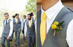 Groom and Groomsmen. Tuxedo vests instead of the blazer. And of course, yellow.