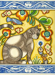 """""""Paschkis cat"""" - Julie Paschkis (inspired by Rudolf Mates, a Czechoslovakian illustrator who lived from 1881-1966)"""